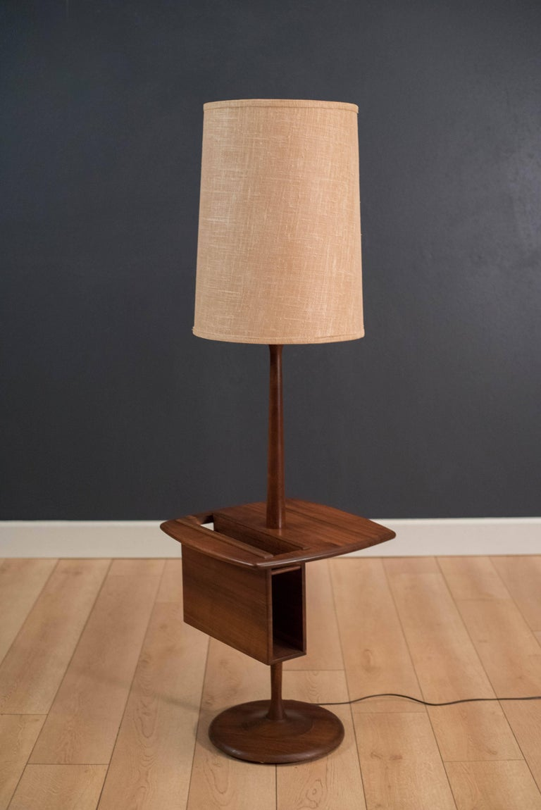 Midcentury Walnut Laurel Floor Lamp With Magazine Rack At