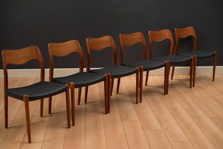 20th Century Set of Eight Danish Teak Niels Moller Dining Chairs For Sale