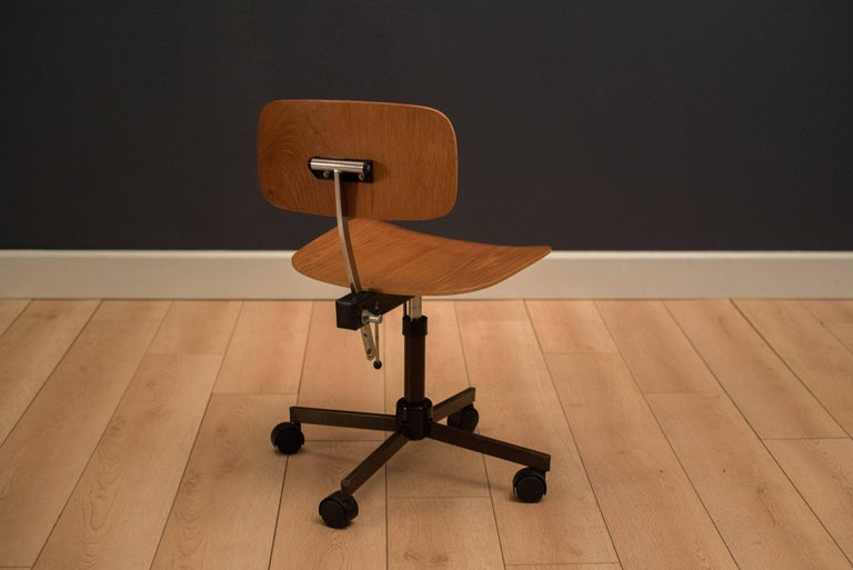 Danish Teak Office Chair Designed By Jorgen Rasmussen For Kevi A S This Piece
