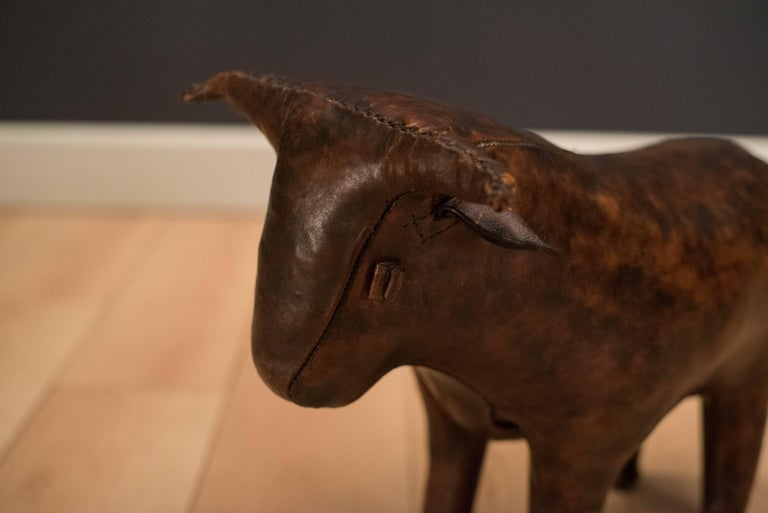 Mid-Century Modern Mid Century Abercrombie & Fitch Leather Bull by Dimitri Omersa For Sale