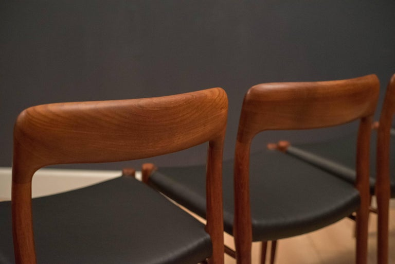 Mid-20th Century Danish Set of Six Teak Niels Moller 75 Dining Chairs For Sale