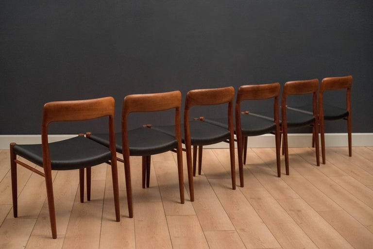 Danish Set of Six Teak Niels Moller 75 Dining Chairs In Good Condition For Sale In San Jose, CA