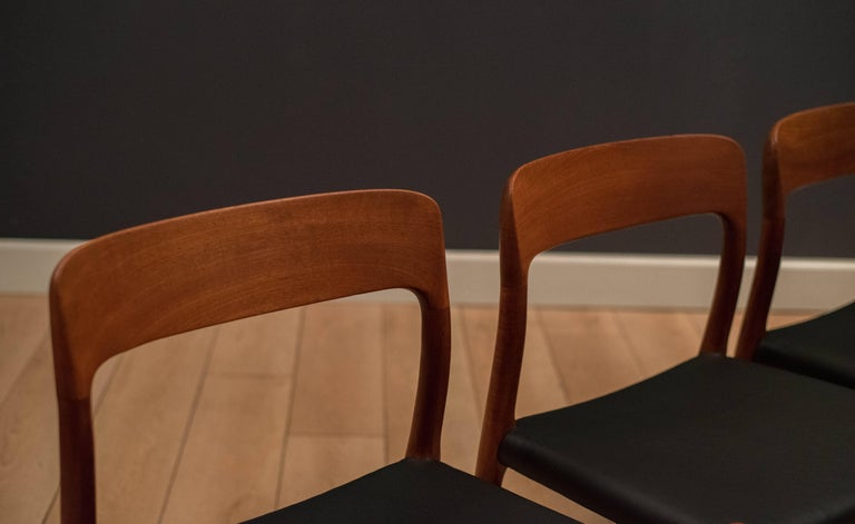 Scandinavian Modern Danish Set of Six Teak Niels Moller 75 Dining Chairs For Sale