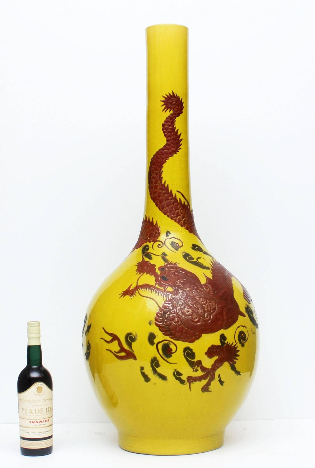 Large Imperial Yellow Chinese Dragon Floor Vase At 1stdibs