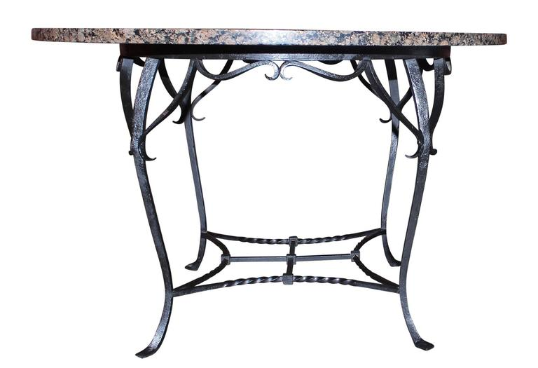 Mid-Century Modern Granite Top Round Dining Table For Sale
