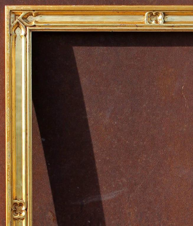 Gold leaf gothic revival frame. Carved wood. Rabbet size 19