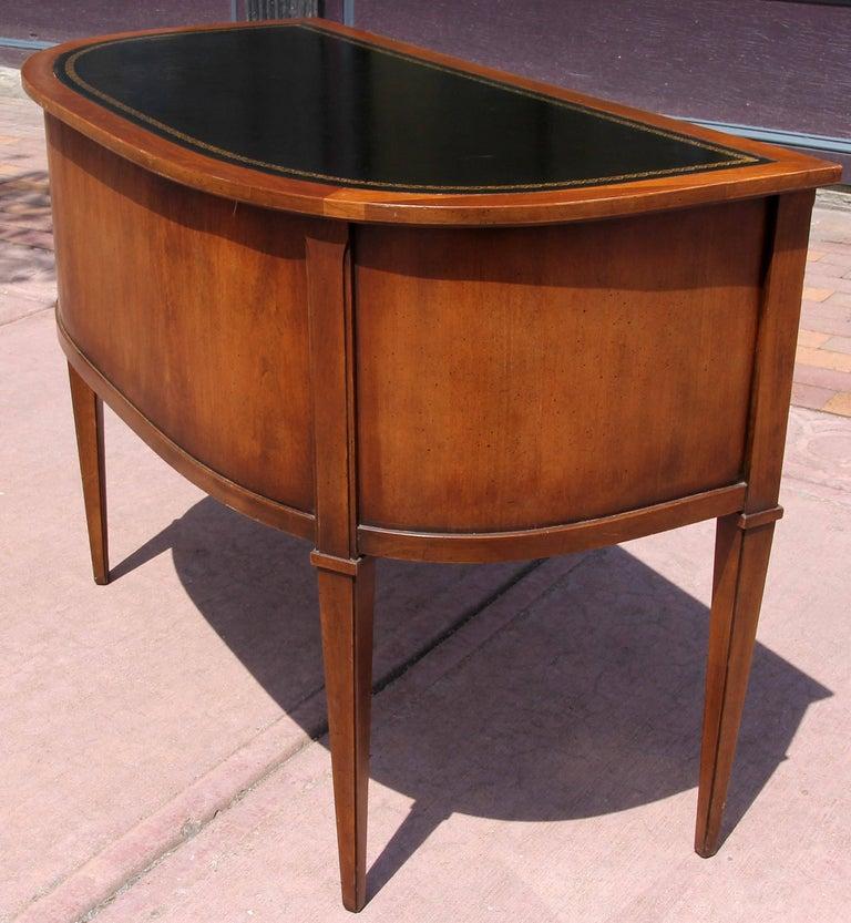 Leather Neoclassical Demi-Lune Desk  For Sale