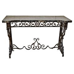 American Hand-Wrought Iron and Marble Console Table, Early 20th Century