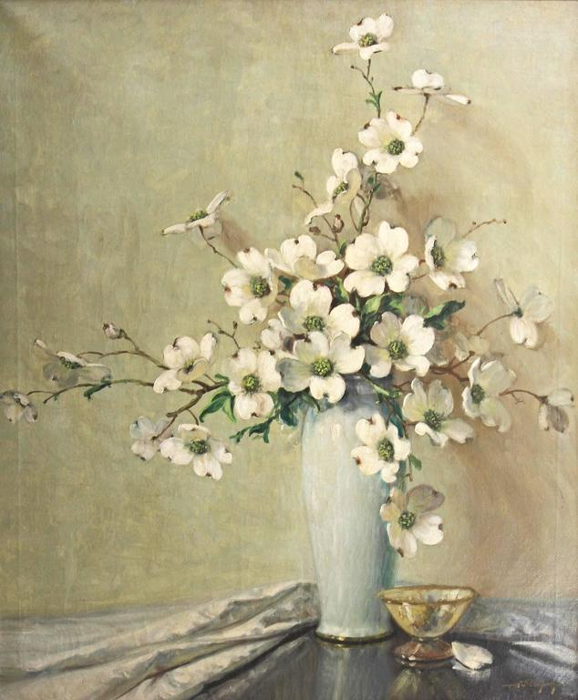 Impressionist Floral Still Life, Dogwood Blossoms by A. D. Greer  2