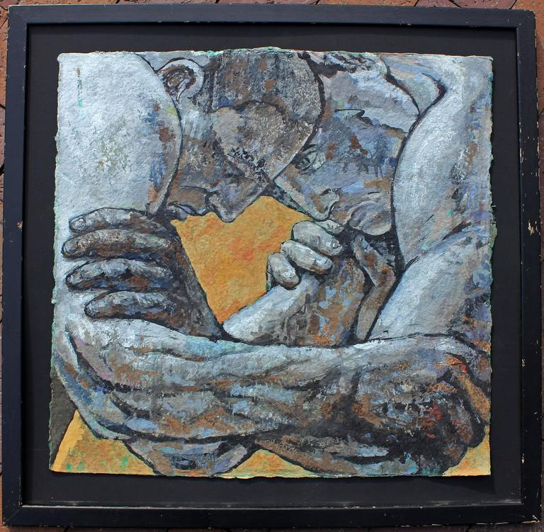 Mid-Century Modern  Oil Painting, Wrestlers  For Sale