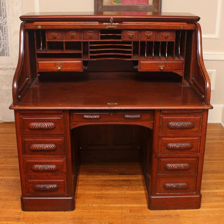 American Black Walnut Double Pedestal Raised Panel Roll Top Desk In Good Red Condition Ed