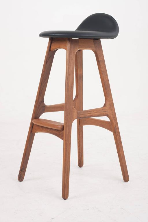 Vintage Teak And Black Leather Breakfast Bar Stool By Erik Buch Danish At 1stdibs