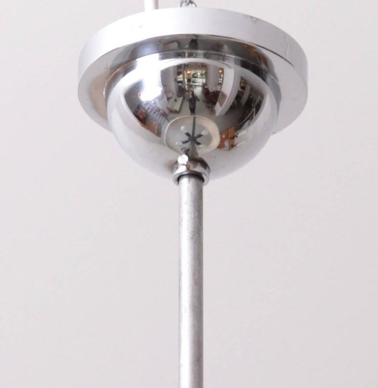 Art Deco 1930s Chrome and Glass Pendant Lamp by Josef Hurka for Napako, 1 of 2 For Sale