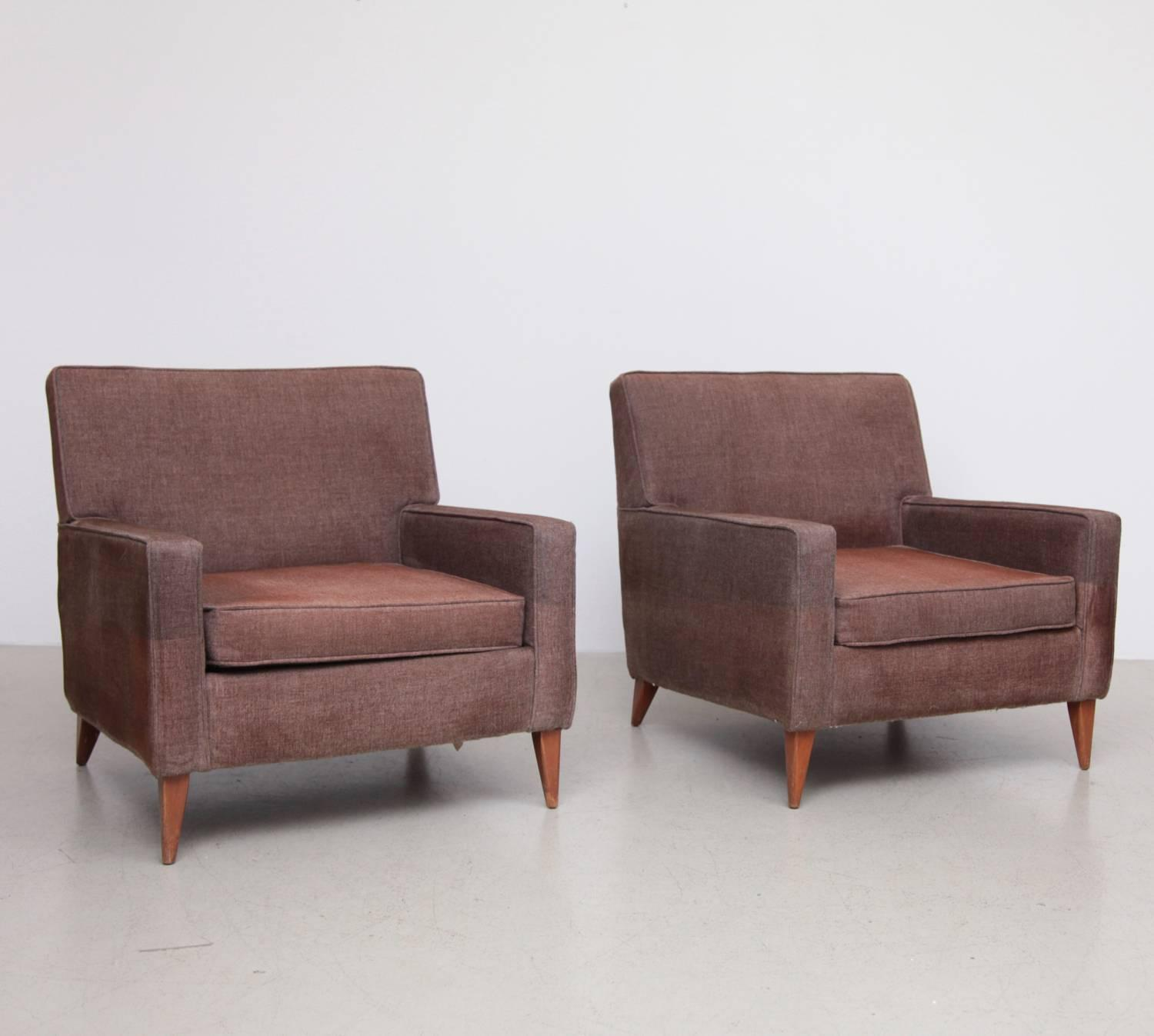 Pair of Paul McCobb Club or Lounge Chairs, circa 1950, Reupholstery Needed For Sale at 1stdibs