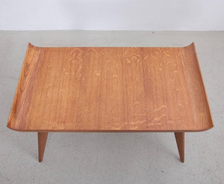 Beautiful Mid Century Modern Spanish Modernist Pagoda Coffee Or Side Table In Oak By  Manuel Barbero