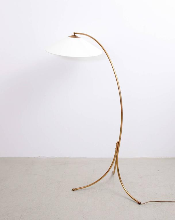 Rare 1950s Brass Tripod Bow Floor Lamp With Chinese Hat