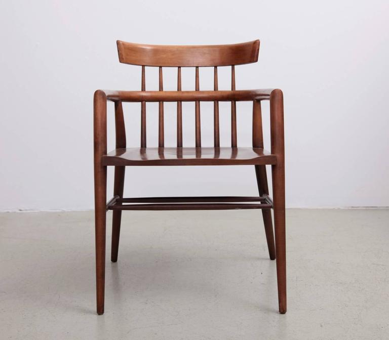 Mid-Century Modern, maple wood, spindle back, windsor style chair by Paul McCobb for Planner Group in restored condition.