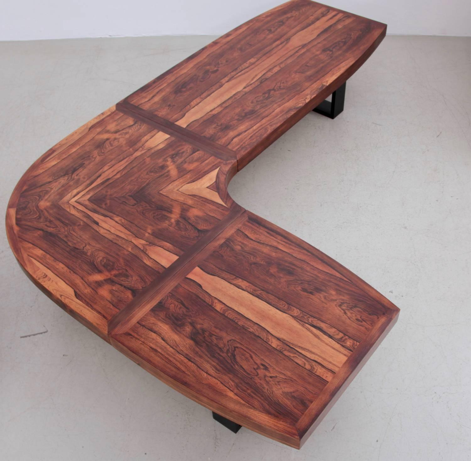 Huge curved rosewood studio coffee or sofa table in l for Curved sofa table for sectional
