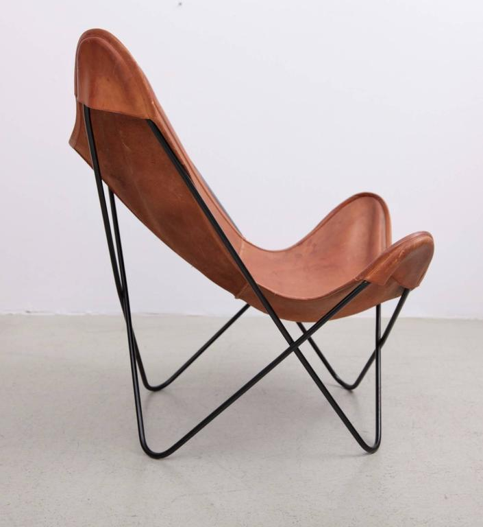 Great Butterfly Chair By Knoll International With Exceptionally Beautiful  Original Leather In Cognac On A Black Base