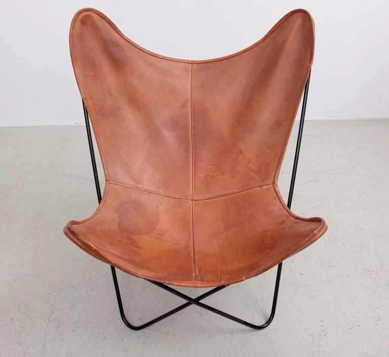 Delicieux German Mid Century Modern Butterfly Chair By Knoll International In Original  Leather For Sale
