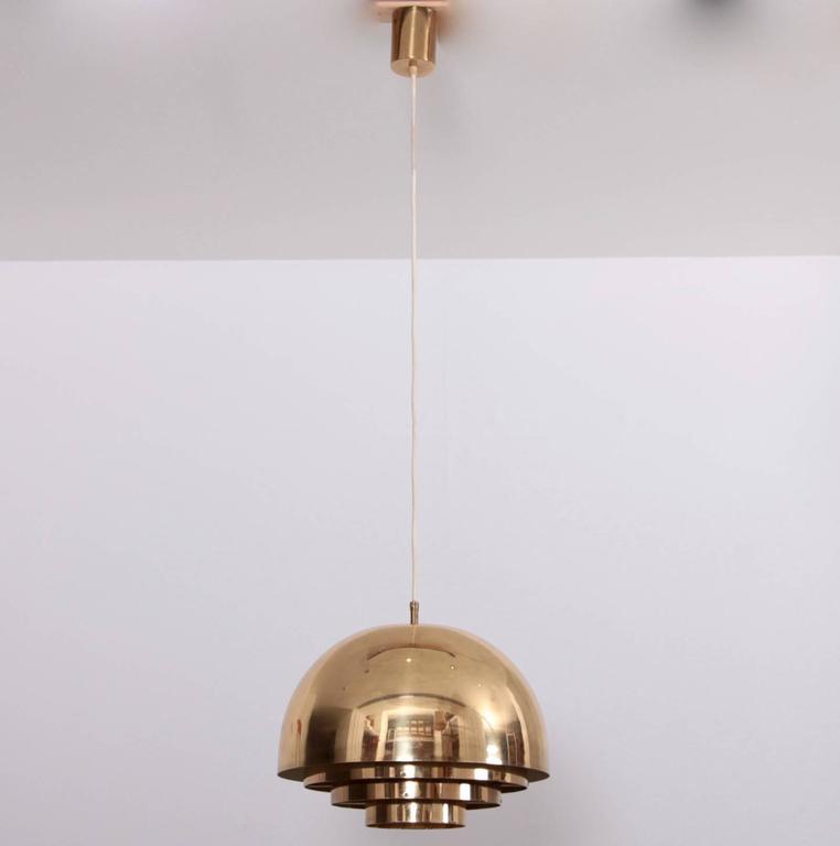 German Brass Chandelier or Pendant Light by Vereinigte Werkstätten München For Sale