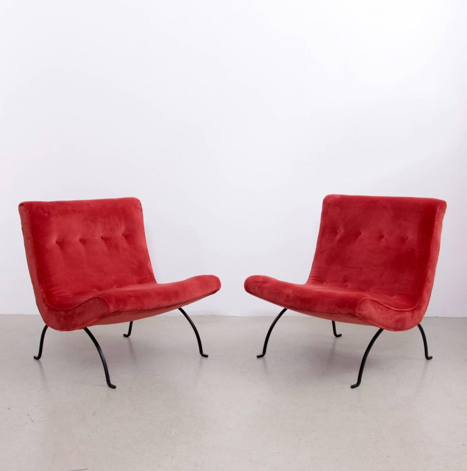 "Pair of Milo Baughman ""Scoop"" Lounge Chairs in Missoni Velvet and W"