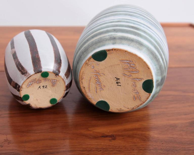 Mid-Century Modern Set of Two Studio Art Pottery by Ahlstrom, California, 1960s For Sale
