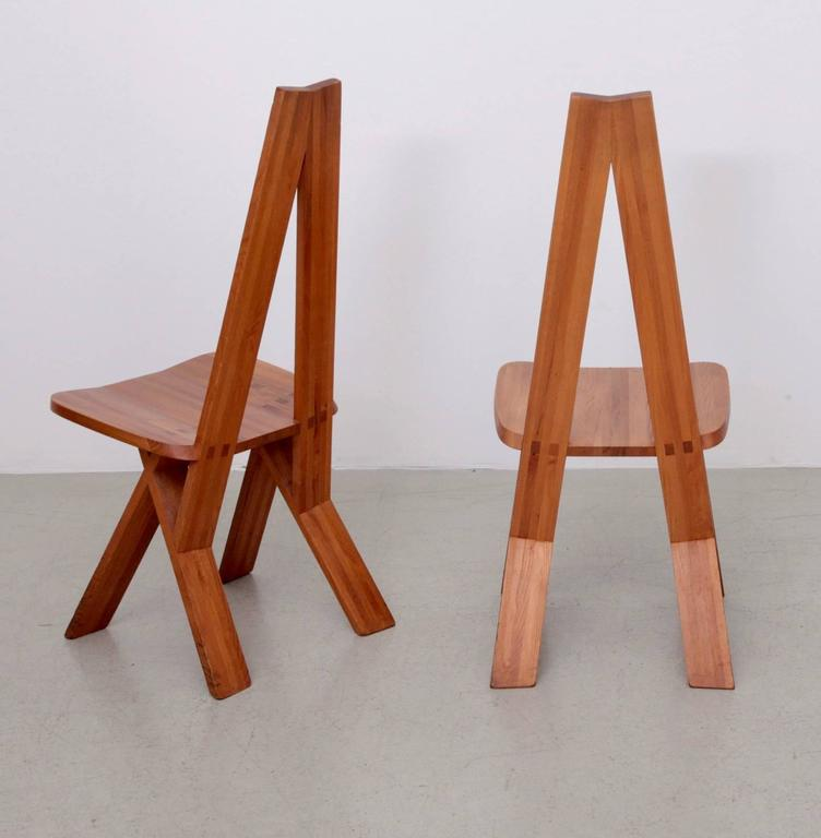 Mid-Century Modern Pair of Two Pierre Chapo S45 Chairs in Solid Elm For Sale