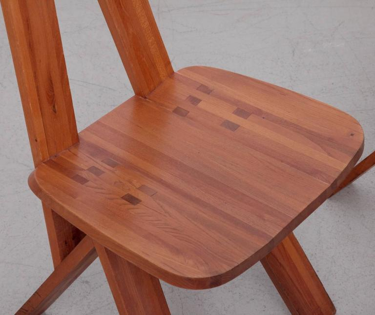 French Pair of Two Pierre Chapo S45 Chairs in Solid Elm For Sale