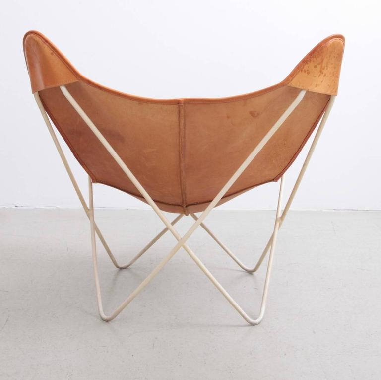 German Mid Century Modern Butterfly Chair By Knoll International In  Original Leather For Sale