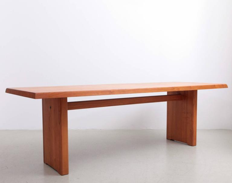 French Rare Large Pierre Chapo T14D Dining Table in Elmwood, France, 1970s For Sale