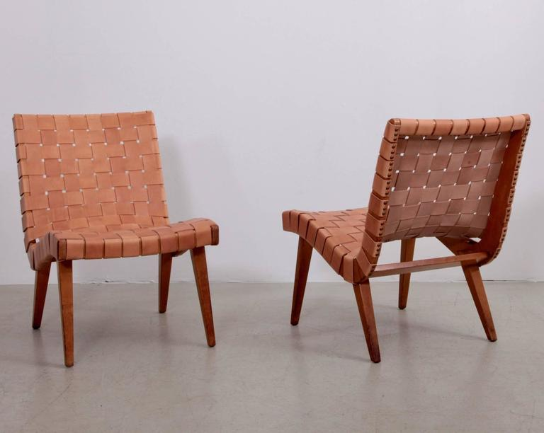 Mid Century Modern Pair Of Early Jens Risom 654W Lounge Chairs By Knoll  With New