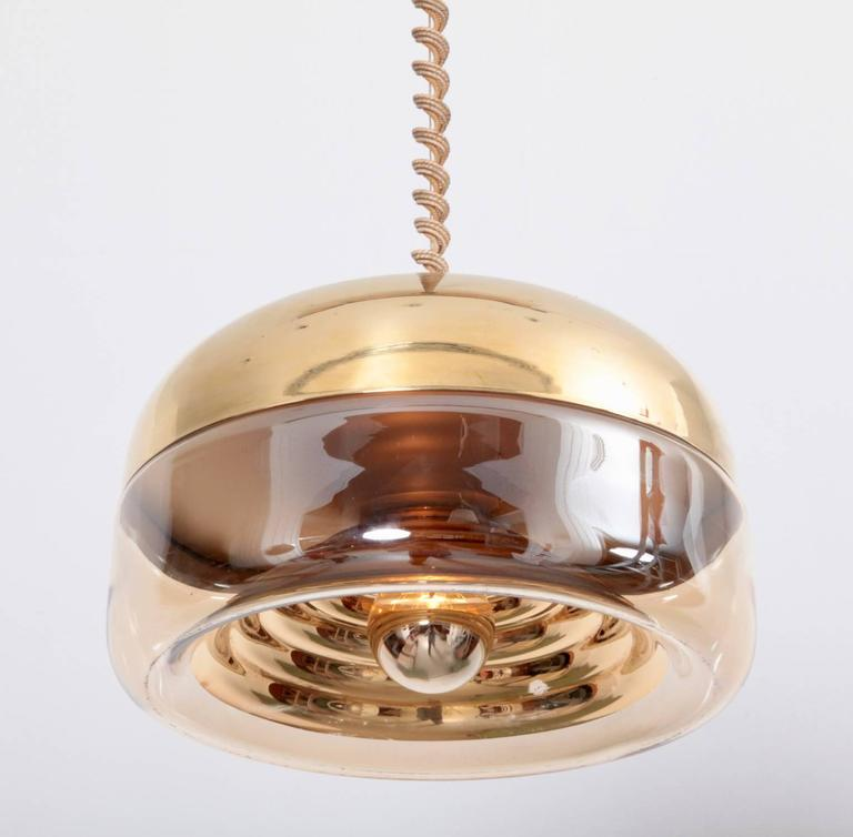 Mid-Century Modern Glass and Brass Pendant Lamp in the Style of Castiglioni, Italy, 1970s For Sale