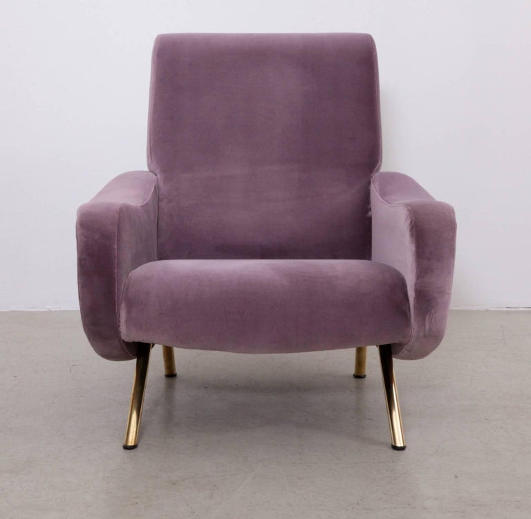 Wonderful lady chair designed by Marco Zanuso and produced by Arflex. The chair are high quality restored and upholstered in velvet.  *This piece is curated for you by Original in Berlin*