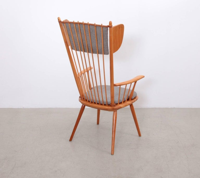 Fabric Albert Haberer Wingback Armchair, Germany, 1950 For Sale