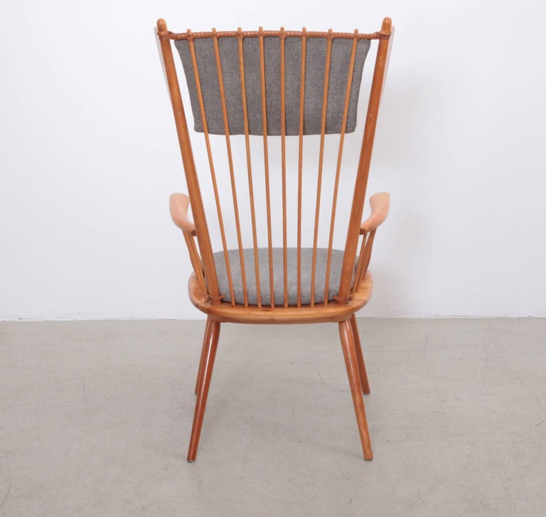 Mid-Century Modern Albert Haberer Wingback Armchair, Germany, 1950 For Sale