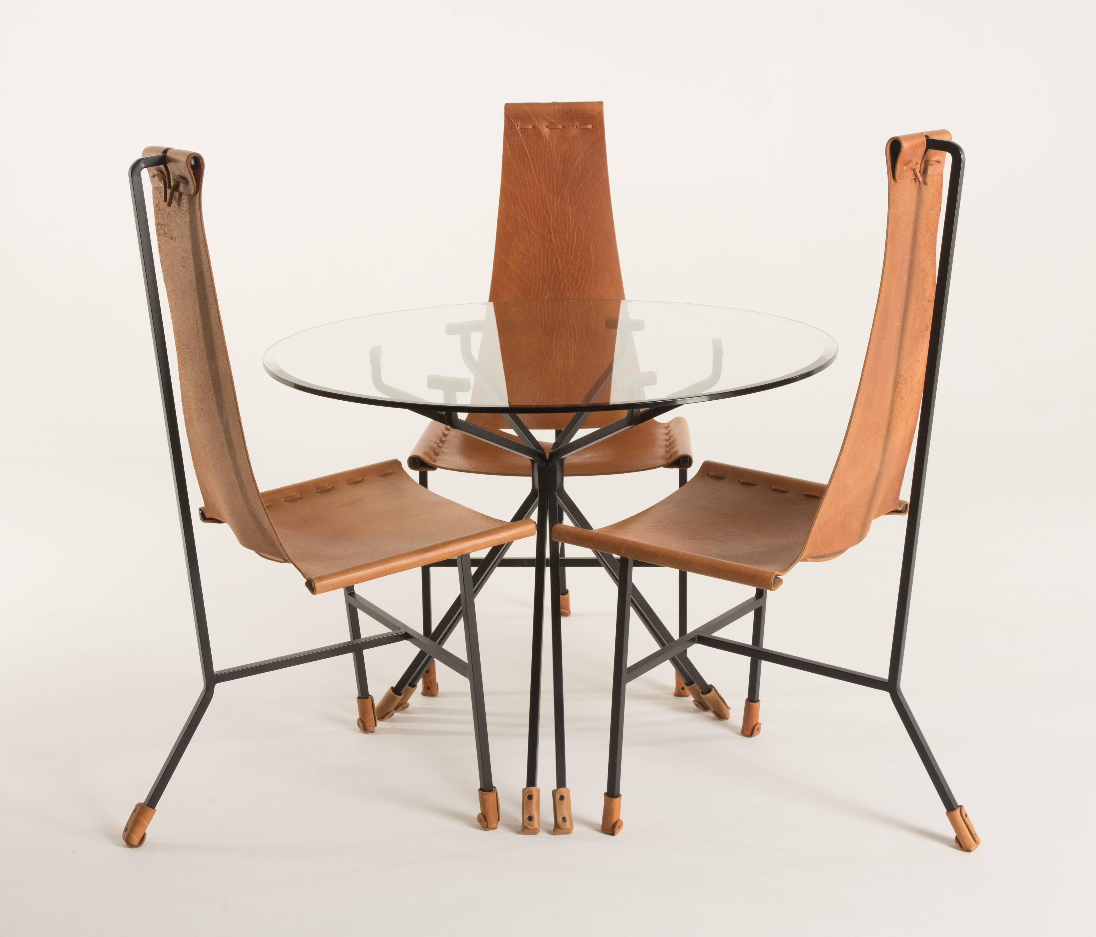 Here We Offer A Set Of Three Dan Wenger Designs Dining Chairs And Glass Top  Table