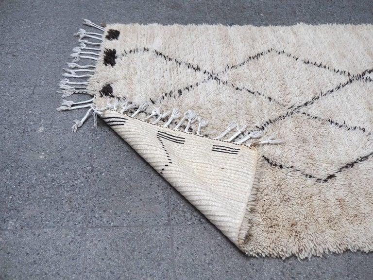 Vintage Beni Ourain Moroccan Rug with Three Column Diamond Pattern 6