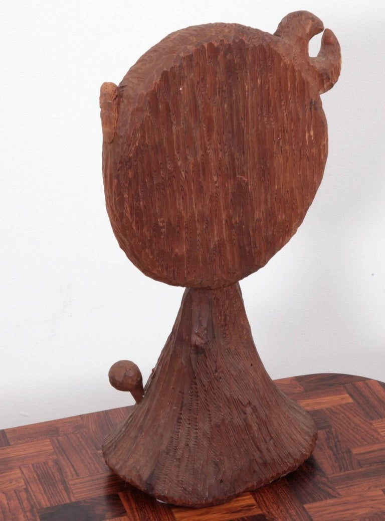 American midcentury redwood sculpture mirror by jdmz