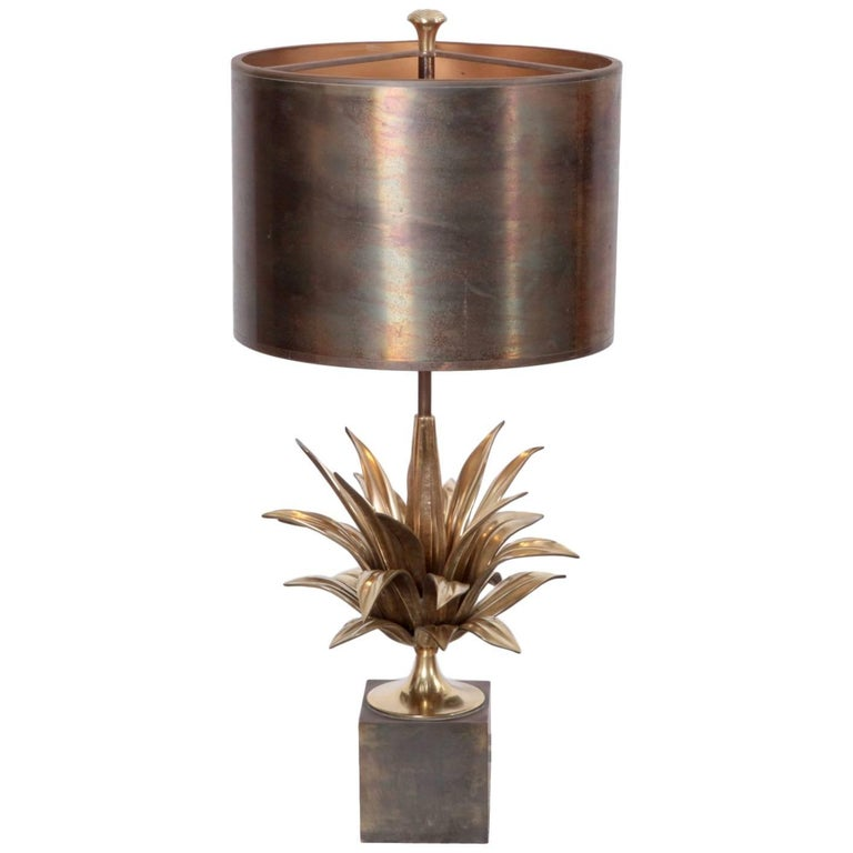 Rare Early Signed Maison Charles Agave a Gorge 2390-1 Table Lamp