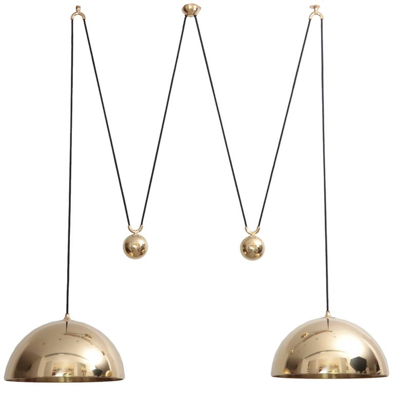 Florian Schulz Double Posa Brass Pendant Lamp with Side Counter Weights