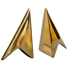 Pair of Carl Auböck Bookends in a Patina and Polish Brass Mix