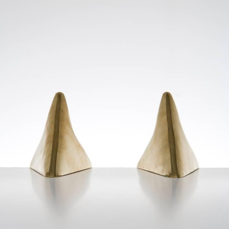 Pair of Carl Auböck Bookends in a Patina and Polish Brass Mix For Sale 2