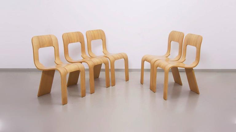 Set Of 5 Stacking Plywood Chairs By Gigi Sabadin For Stilwood Italy 1973 3