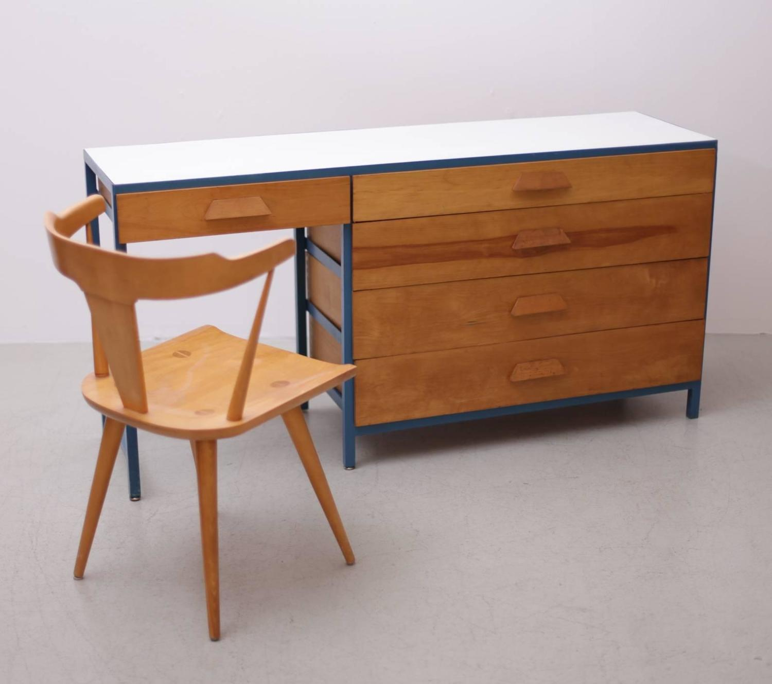 Amazing photo of  of California Steel Frame Desk or Vanity with Five Drawers at 1stdibs with #824721 color and 1500x1329 pixels