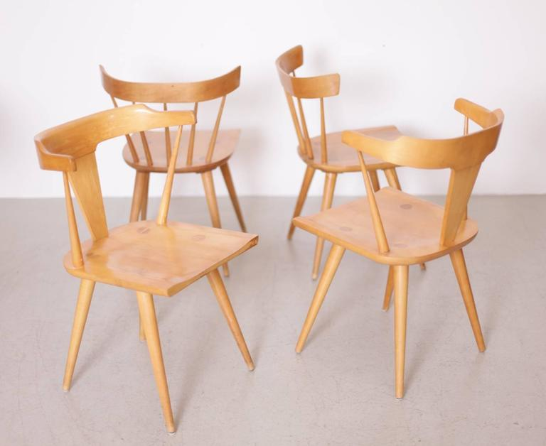 Mid Century Modern Paul McCobb Dining Set Four Chairs And Table, Maple,  1950s
