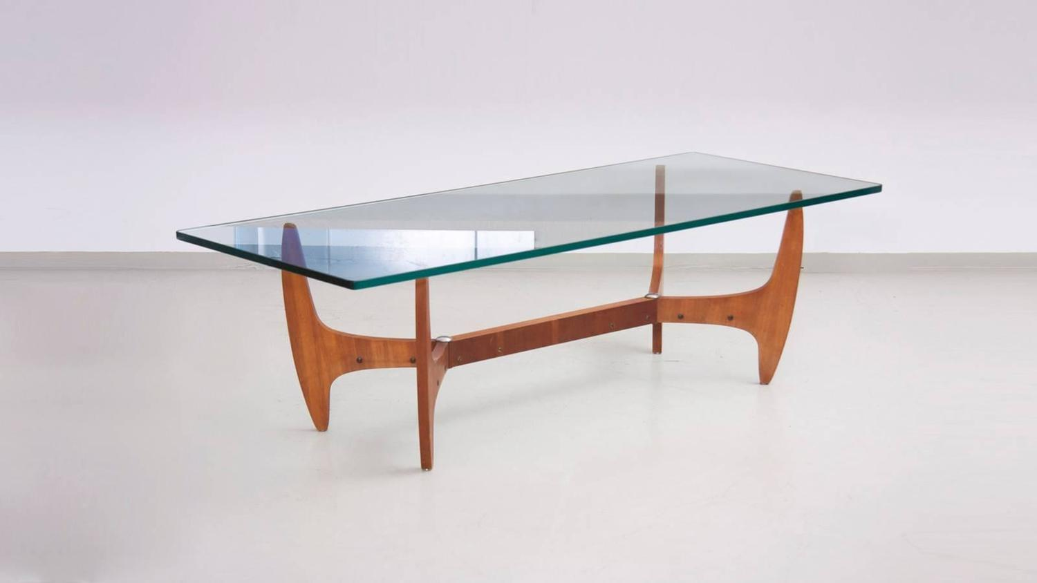 Large brazilian midcentury coffee table with thick glass for Large glass top coffee table