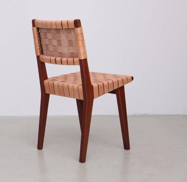 Mid Century Modern Rare Oak Jens Risom Set Of Ten Webbed Knoll Chairs In  Leather
