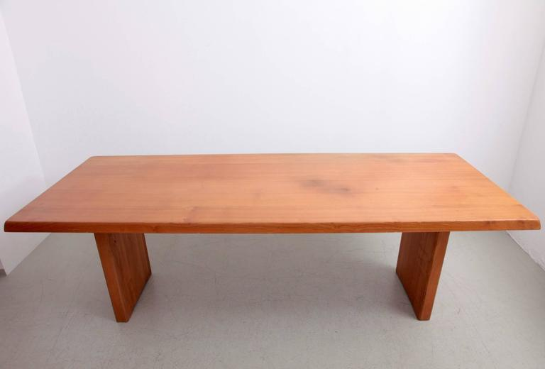 Mid-Century Modern Rare Large Pierre Chapo T14D Dining Table in Elmwood, France, 1970s For Sale