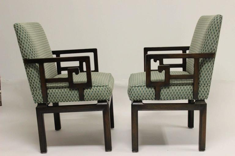 Fine Pair Of Michael Taylor For Baker Far East Collection Greek Key Design  Armchairs. Original